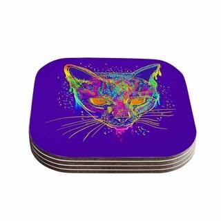 Kess InHouse Frederic Levy-Hadida 'Candy Cat Purple' Rainbow Purple Coasters (Set of 4)