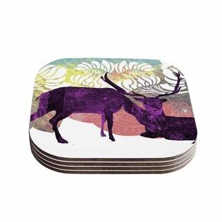 Kess InHouse Frederic Levy-Hadida 'Tenderness' White Purple Coasters (Set of 4)