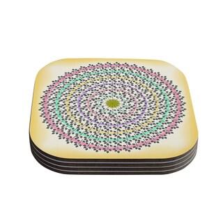 Kess InHouse Famenxt 'Leafy Watercolor Mandala' Pastel Abstract Coasters (Set of 4)