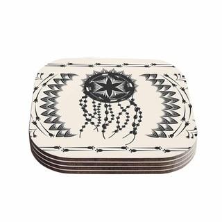 Kess InHouse Famenxt 'Bohemian Dream Catcher Boho' Black Beige Coasters (Set of 4)