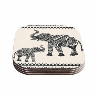 Kess InHouse Famenxt 'Ornate Indian Elephant-Boho' Black Beige Coasters (Set of 4)