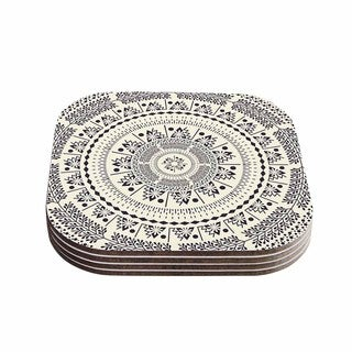 Kess InHouse Famenxt 'Swadesi Soft Boho Mandala' Beige Illustration Coasters (Set of 4)