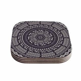 Kess InHouse Famenxt 'Swadesi Boho Mandala' Black Illustration Coasters (Set of 4)