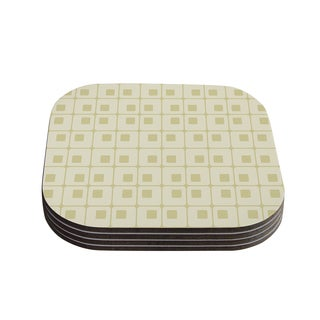 Kess InHouse Fotios Pavlopoulos 'Squares in Square' Tan Shapes Coasters (Set of 4)