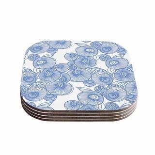 Kess InHouse Gill Eggleston 'Fenella Floral' Blue White Coasters (Set of 4)