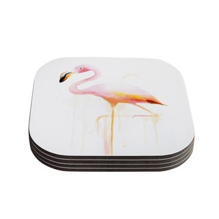 Kess InHouse Geordanna Cordero-Fields 'My Flamingo' Pink White Coasters (Set of 4)