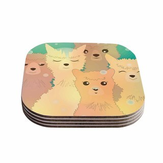 Kess InHouse Graphic Tabby 'Alpacas In Snow' Pastel Animals Coasters (Set of 4)