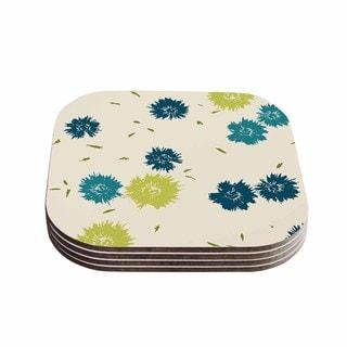 Kess InHouse Gukuuki 'Blue Mollie' Teal Beige Coasters (Set of 4)