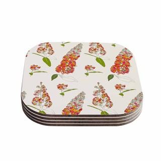 Kess InHouse Gukuuki 'Barika Belva' Coral Floral Coasters (Set of 4)