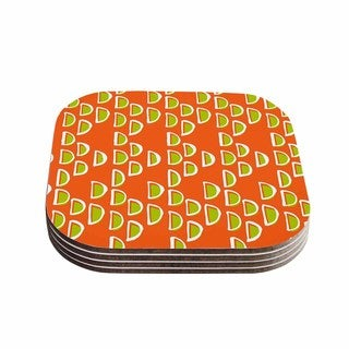 Kess InHouse Holly Helgeson 'Geo Seed' Orange Coasters (Set of 4)
