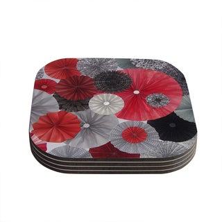 Kess InHouse KESS InHouse Heidi Jennings 'Kyoto' Red and Black Compressed Wood 4-inch x 4-inch x 0.75-inch Coasters (Pack of 4)