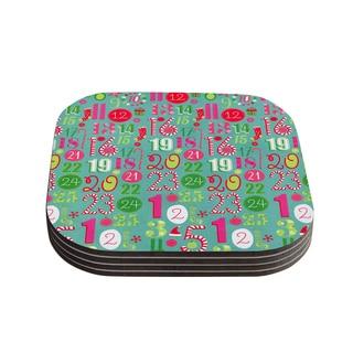 Kess InHouse Heidi Jennnings 'Merry Countdown' Green Pink Coasters (Set of 4)