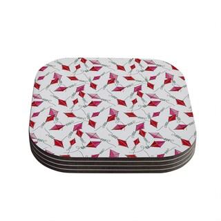Kess InHouse Heidi Jennings 'Go Fly A Kite' White Pink Coasters (Set of 4)