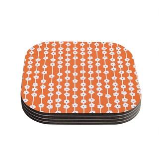 Kess InHouse Heidi Jennings 'Orange You Cute' Tangerine White Coasters (Set of 4)