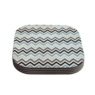 Kess InHouse Heidi Jennings Blue and Grey Wood Set of 4 Chevron Coasters