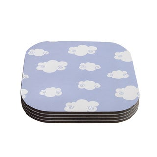 Kess InHouse Heidi Jennings 'Happy Clouds' White/Blue Coasters (Set of 4)