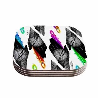 Kess InHouse Ivan Joh 'Warm Hands' Black Orange Coasters (Set of 4)