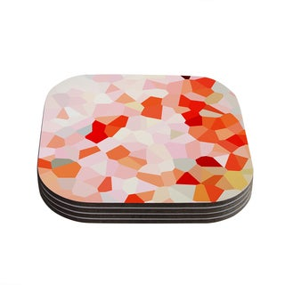 Kess InHouse Iris Lehnhardt 'Oooh La La' Orange Pixel Coasters (Set of 4)