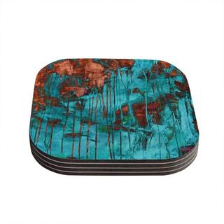 Kess InHouse Iris Lehnhardt 'Rusty Teal' Paint Teal Coasters (Set of 4)