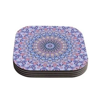 Kess InHouse Iris Lehnhardt 'Summer Lace II' Circle Purple Coasters (Set of 4)