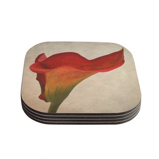Kess InHouse Iris Lehnhardt 'Calla' Red Flower Coasters (Set of 4)