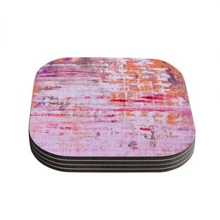Kess InHouse Iris Lehnhardt 'Bittersweet' Pink Orange Coasters (Set of 4)