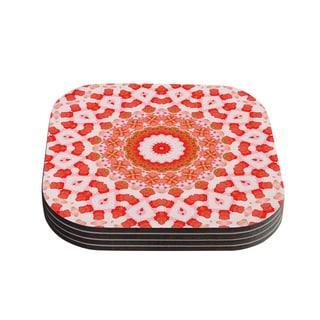 Kess InHouse Iris Lehnhardt 'Mandala I' Red Orange Coasters (Set of 4)