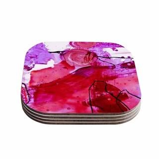 Kess InHouse Iris Lehnhardt 'Abstract' Pink Purple Coasters (Set of 4)