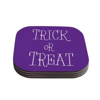 Kess InHouse KESS Original 'Trick or Treat - Purple' Coasters (Set of 4)