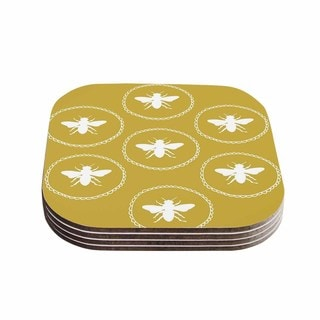 Kess InHouse Jennifer Rizzo 'Busy As A Bee Maise Gold' White Nature Coasters (Set of 4)