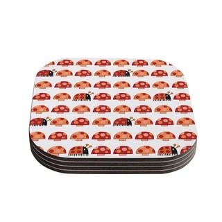 Kess InHouse Jane Smith 'Garden Ladybugs' Orange Red Coasters (Set of 4)