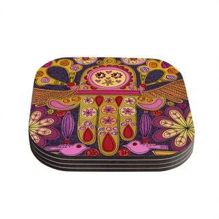Kess InHouse Jane Smith 'Indian Jewelry' Purple Yellow Coasters (Set of 4)