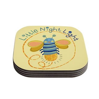 Kess InHouse KESS InHouse 'Little Night Bug' Yellow Compressed Wood Coaster (Pack of 4)