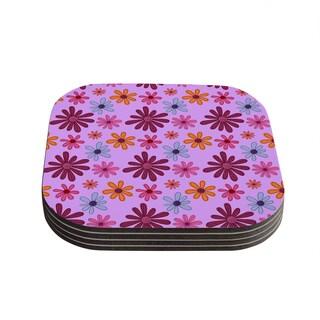 Kess InHouse Jane Smith 'Woodland Floral' Purple Flowers Coasters (Set of 4)