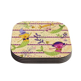 Kess InHouse Jane Smith 'Under the Sea' Tan Purple Coasters (Set of 4)