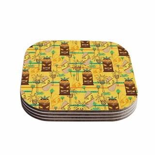 Kess InHouse Jane Smith 'Surfing Tiki' Yellow Pattern Coasters (Set of 4)