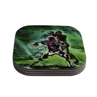 Kess InHouse Josh Serafin '1st & 10' Baseball Green Coasters (Set of 4)