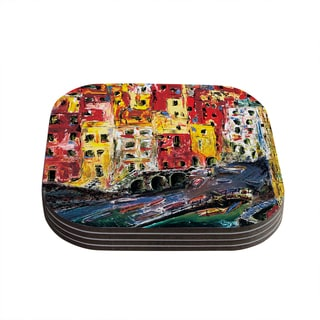 Kess InHouse Josh Serafin 'Cinque Terre' Red Yellow Coasters (Set of 4)