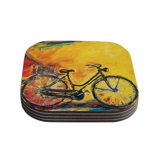 Kess InHouse Josh Serafin 'To Go' Yellow Bicycle Coasters (Set of 4)