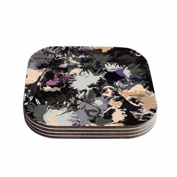 Kess InHouse Jessica Wilde 'Punk Floral' Black Purple Coasters (Set of 4)