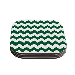 Kess InHouse KESS Original 'Candy Cane Green' Chevron Coasters (Set of 4)