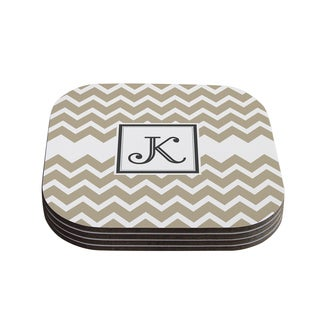 Kess InHouse KESS Original 'Monogram Chevron Tan' Coasters (Set of 4)