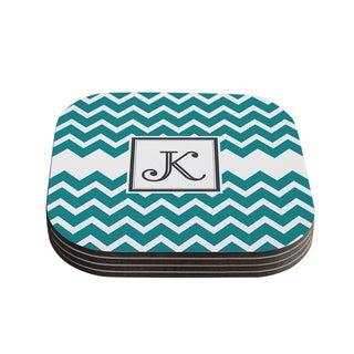 Kess InHouse KESS Original 'Monogram Chevron Teal' Coasters (Set of 4)