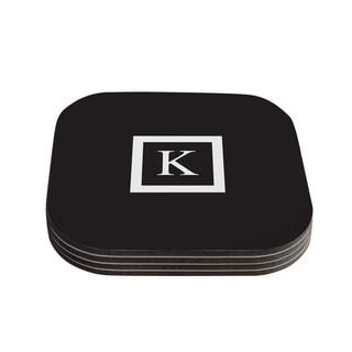 Kess InHouse KESS Original 'Monogram Solid Black' Coasters (Set of 4)