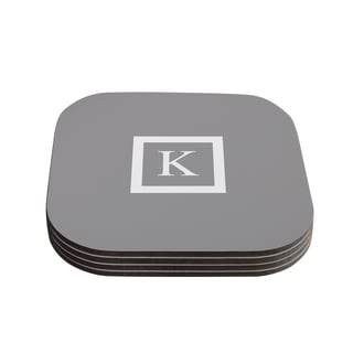 Kess InHouse KESS Original 'Monogram Solid Grey' Coasters (Set of 4)