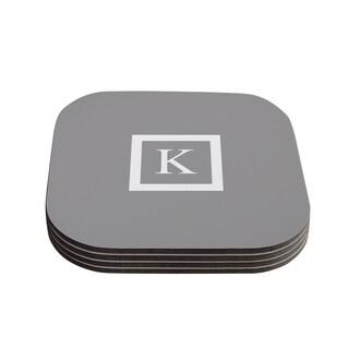 Kess InHouse KESS Original 'Monogram Solid Grey' Coasters (Set of 4)