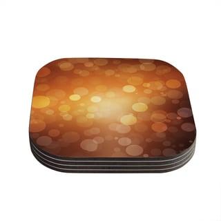 Kess InHouse KESS Original 'Sunrise' Orange Bokeh Coasters (Set of 4)