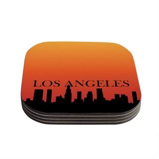 Kess InHouse KESS Original 'Los Angeles' Orange Black Coasters (Set of 4)