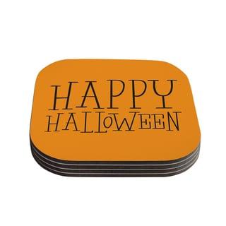 Kess InHouse KESS Original 'Happy Halloween - Orange' Coasters (Set of 4)