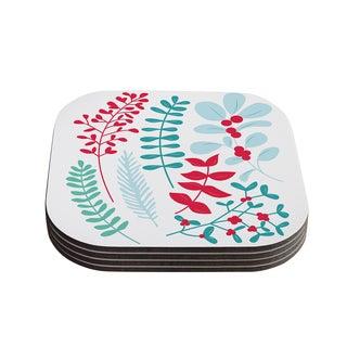 Kess InHouse KESS Original 'Deck the Hollies Red' Teal Coasters (Set of 4)
